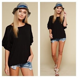 Ruffle Tiered Sleeve Relaxed Fit Top Black